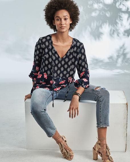 Tolani Elise Tie-Neck Floral-Print Blouse