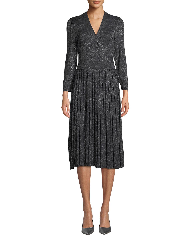 0b3ef0fd881 kate spade new york metallic pleated knit wrap dress