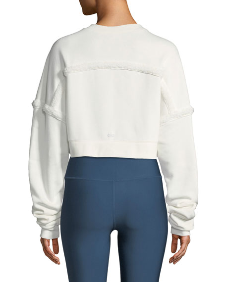 Alo Yoga City Cropped Sweatshirt with Sherpa Trim