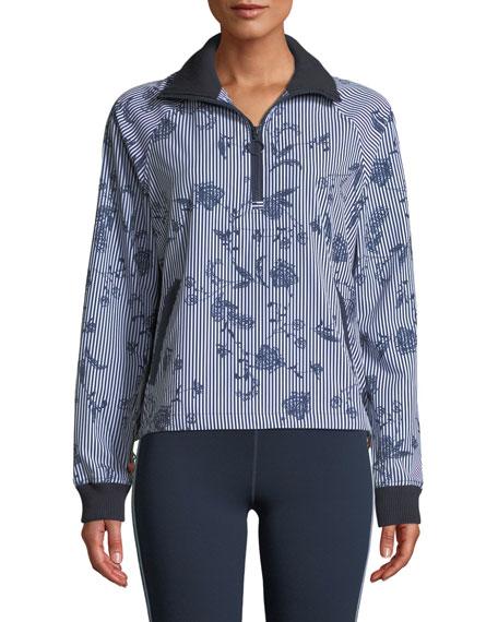 The Upside Florence Striped Floral Quarter-Zip Jacket