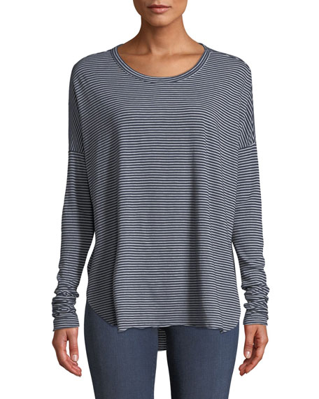 Frank & Eileen Tee Lab Relaxed Striped Long-Sleeve High-Low Tee