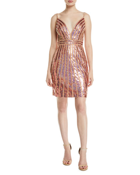 Jovani Striped Sequin V-Neck Mini Dress