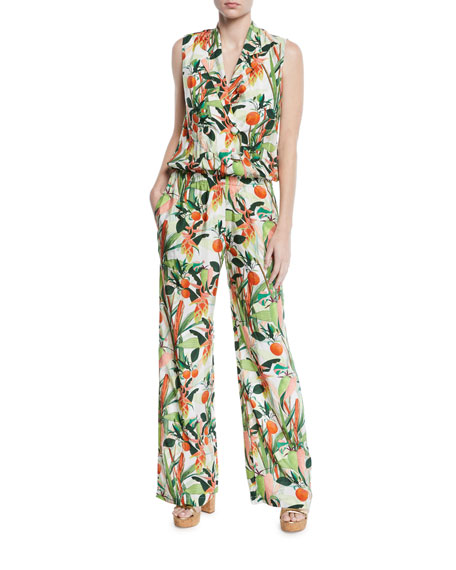 VERANDAH Am To Pm Botanical-Print Sleeveless Jumpsuit in Green