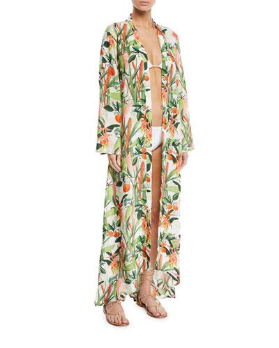 Beaded Botanical-Print Long Kimono