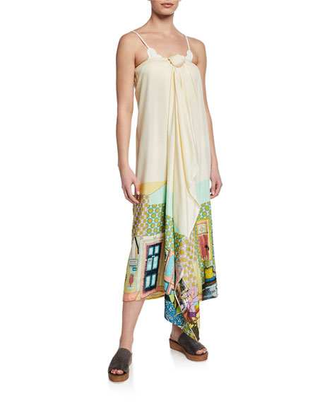 VERANDAH Printed Tie-Front Coverup Maxi Skirt in Green