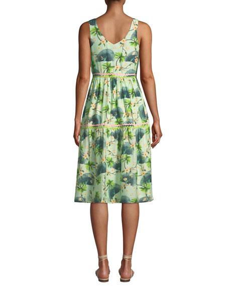 VERANDAH Dresses PRINTED V-NECK TIERED DRESS WITH RICKRACK DETAIL