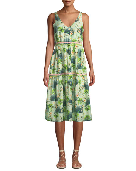 VERANDAH Printed V-Neck Tiered Dress With Rickrack Detail in Green