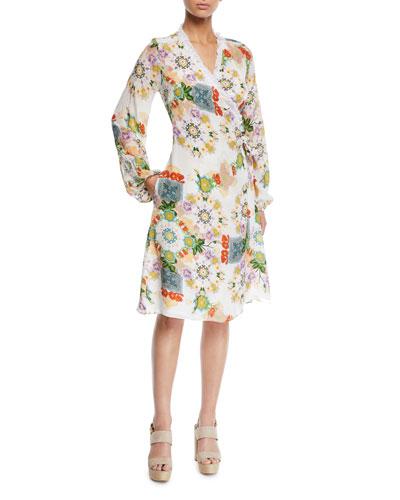 Printed Blouson-Sleeve Coverup Wrap Dress with Fringe