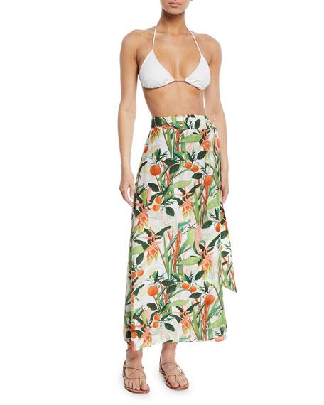 VERANDAH Skirts Printed Wrap Tie Coverup Pareo Skirt