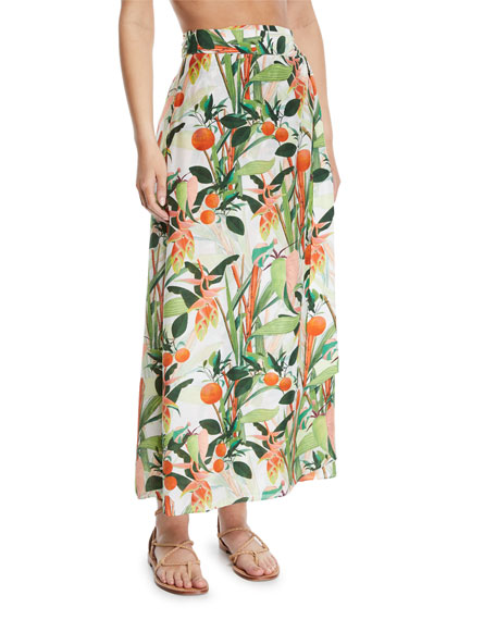 VERANDAH Printed Wrap Tie Coverup Pareo Skirt in Green