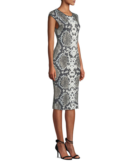 NK32 Naeem Khan Cap-Sleeve Python-Print Cocktail Dress