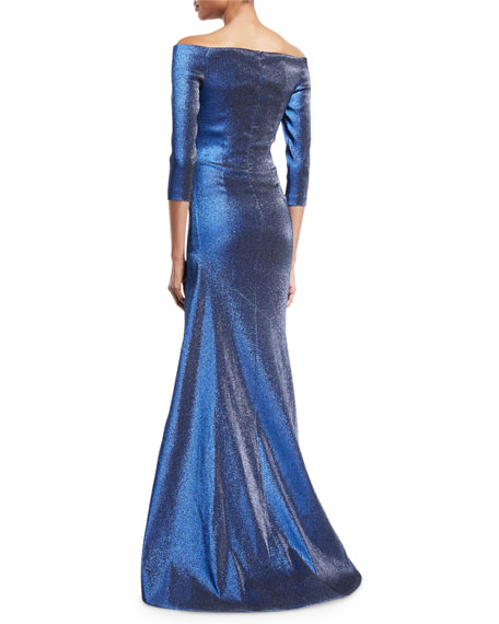 Theia Off-the-Shoulder 3/4-Sleeve Metallic Mermaid Gown