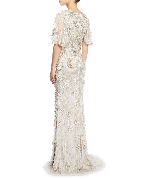 Theia Flutter-Sleeve Mermaid Gown with 3D Petals