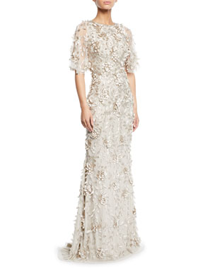d6b8bd21ba1f Theia Flutter-Sleeve Mermaid Gown with 3D Petals