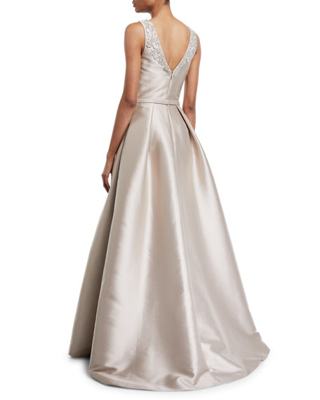 Image 2 of 2: Theia Faille V-Neck Ball Gown with Crystal Beading