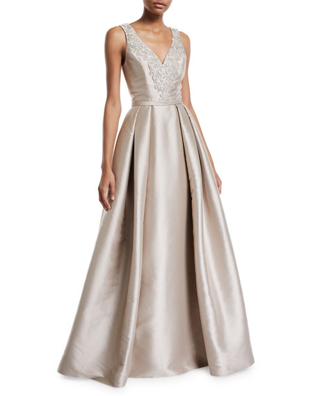 Image 1 of 2: Theia Faille V-Neck Ball Gown with Crystal Beading