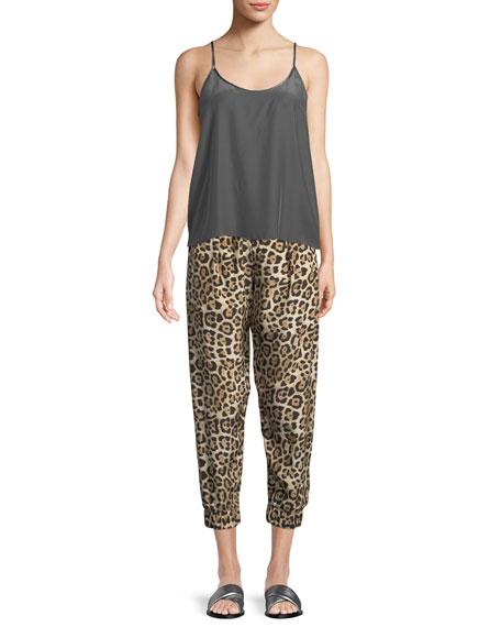 ATM Anthony Thomas Melillo Leopard-Print Silk Jogger  Pants