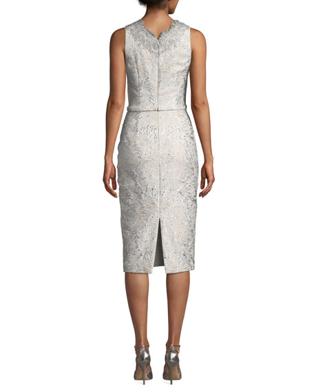 Image 2 of 3: Theia Sleeveless Cloque Cocktail Dress w/ Metallic Lace