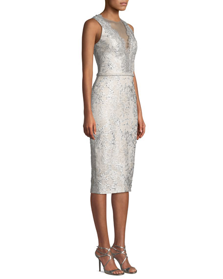 Image 3 of 3: Theia Sleeveless Cloque Cocktail Dress w/ Metallic Lace
