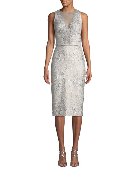 Image 1 of 3: Theia Sleeveless Cloque Cocktail Dress w/ Metallic Lace