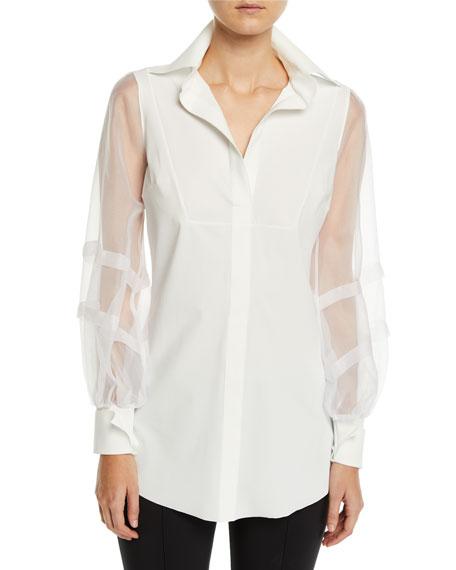 Chiara Boni La Petite Robe Bayda Organza-Sleeve Shirt