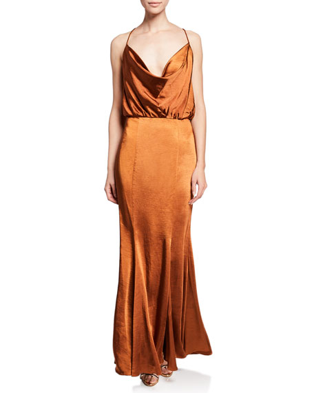 Fame And Partners THE THEODORA SLEEVELESS COWL-NECK SATIN SLIP GOWN