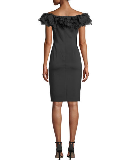 Tadashi Shoji Off-the-Shoulder Feathery-Trim Neoprene Sheath Cocktail Dress