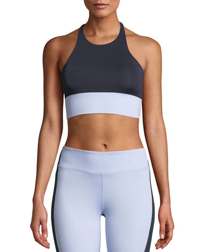 Aria Colorblock Cross-Back Performance Crop Top