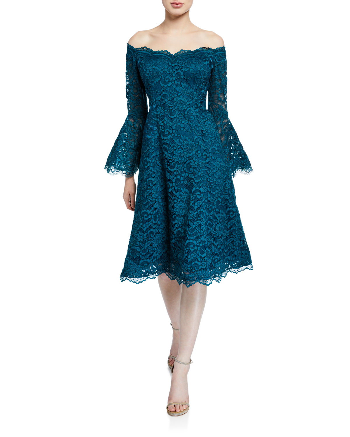 9cb7f97908 Rickie Freeman for Teri Jon Off-the-Shoulder Bell-Sleeve Scalloped-Lace