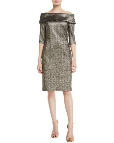 Off-the-Shoulder 3/4-Sleeve Metallic Jacquard Dress