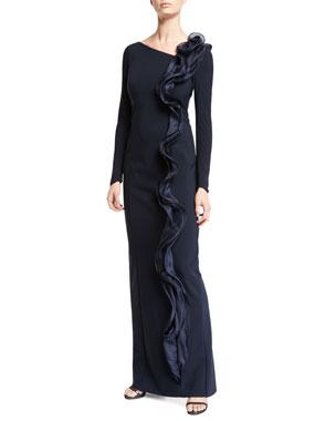 3060d955b7b3 Rickie Freeman for Teri Jon Silk Ruffle Long-Sleeve Scuba Gown