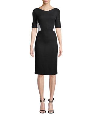 51ab1018aa63fa St. John Collection V-Neck Half-Sleeve Pique Milano Knit Sheath Dress