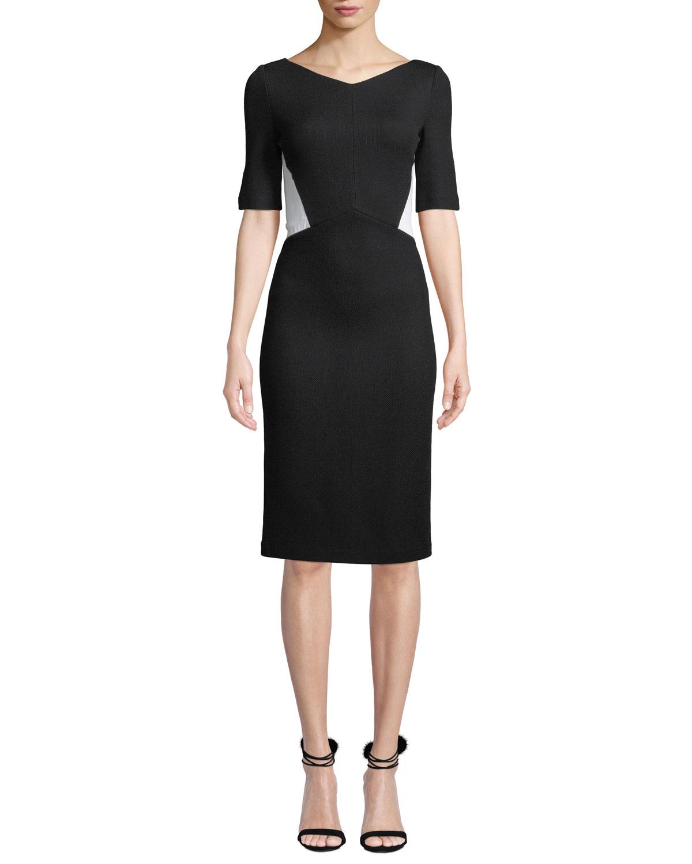 05a96f726e03 St. John CollectionV-Neck Half-Sleeve Pique Milano Knit Sheath Dress