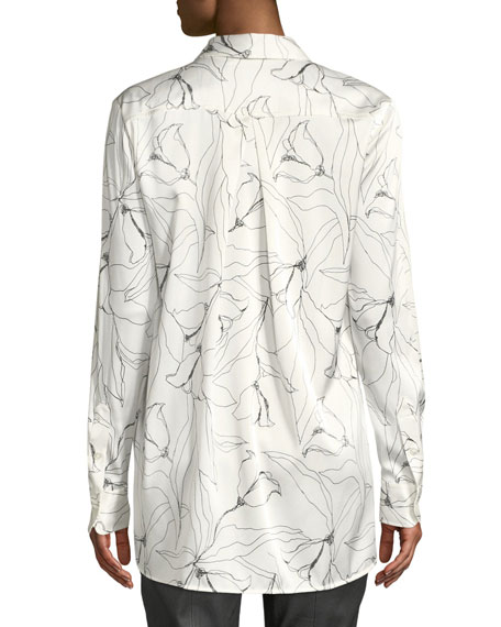 6482947e8 Image 2 of 2: St. John Collection Floral-Print Button-Down High. St. John  Collection Floral-Print Button-Down High-Low Silk Charmeuse Blouse