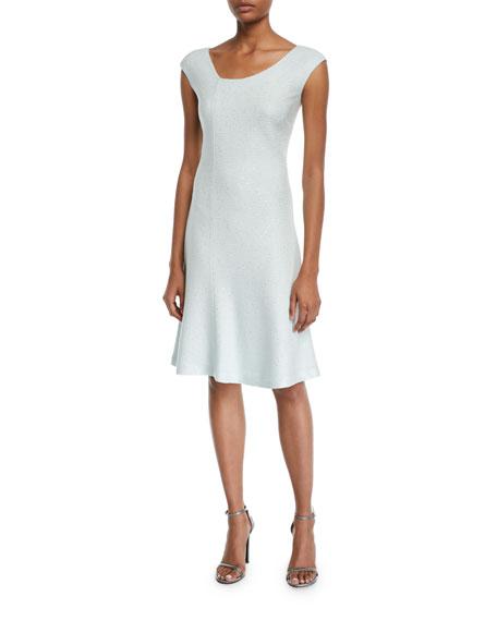 St. John Collection Links Sequin Asymmetric-Neck Cap-Sleeve Dress