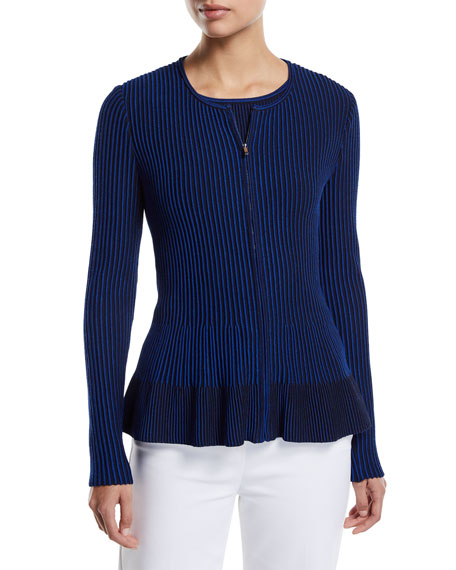 St. John Collection Charlotte Zip-Up Fit-and-Flare Cardigan