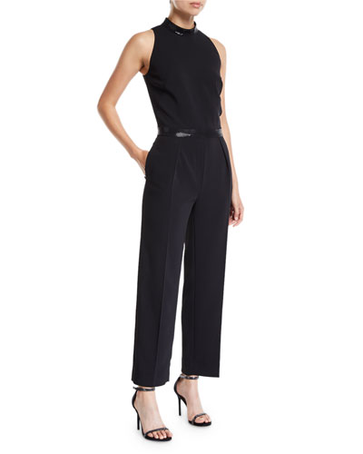 Sleeveless Stretch Viscose Cady Capri Jumpsuit