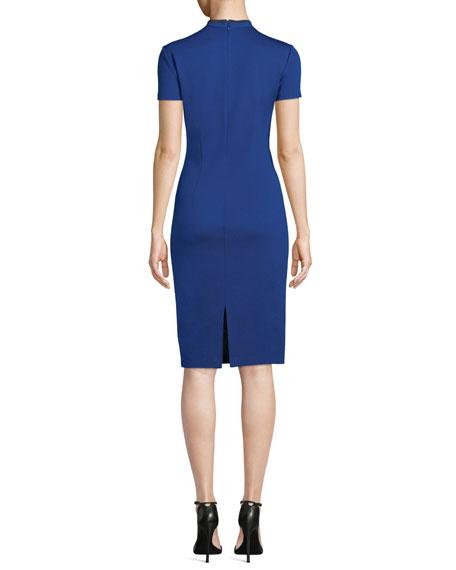 St. John Collection Milano Knit Short-Sleeve V-Neck Dress w/ Silk Trim