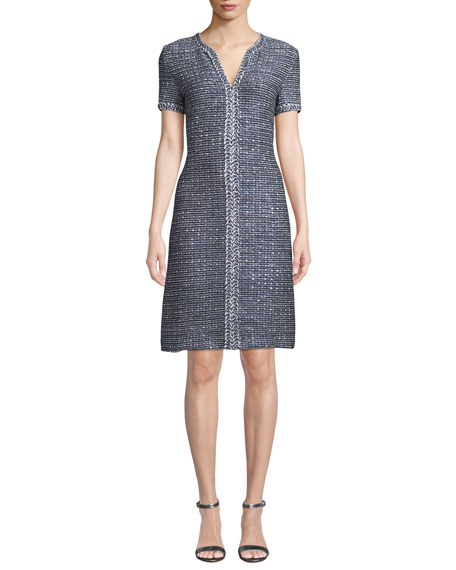 St. John Collection Camille V-Neck Short-Sleeve A-Line Dress with Braided Trim