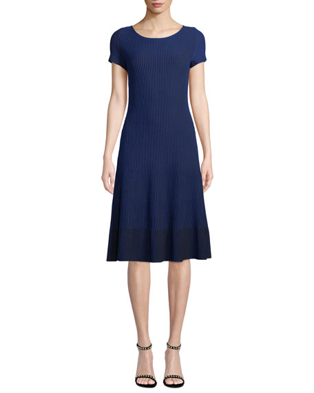 St. John Collection Charlotte Scoop-Neck Short-Sleeve Rib-Knit Dress