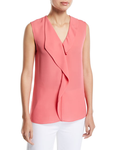 St. John Collection Georgette Satin Silk Draped Sleeveless Blouse