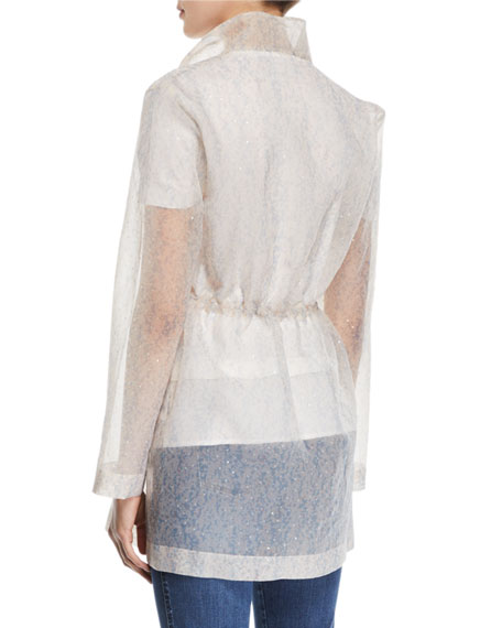 St. John Collection Sequined Transparent Organza Utility Jacket