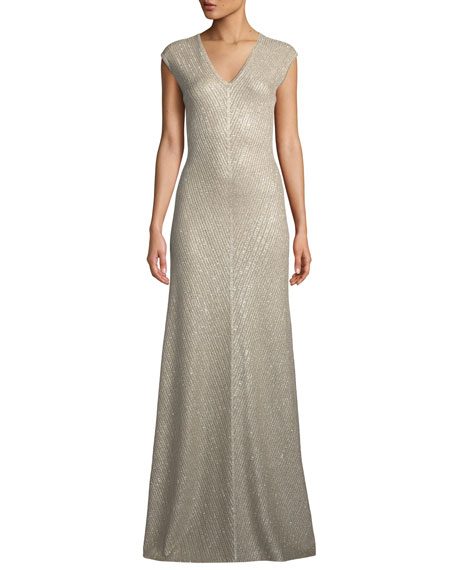 St. John Collection Brielle Sequin V-Neck Cap-Sleeve Knit Gown