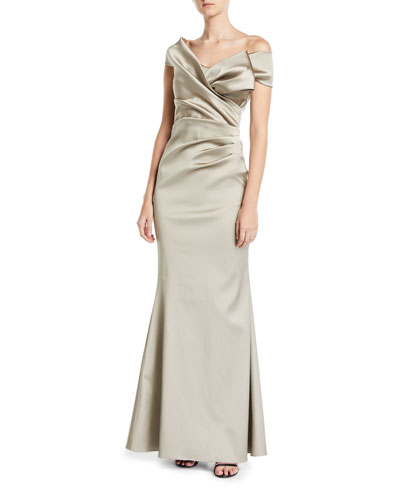 One-Shoulder Stretch Gazar Draped Trumpet Gown