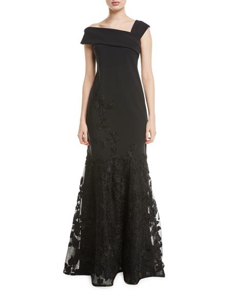 Rickie Freeman for Teri Jon Asymmetric-Neck Embroidered Scuba Flounce Gown
