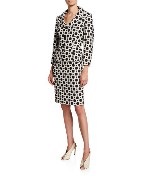 Albert Nipon Polka-Dot Two-Piece Jacket & Skirt Suit