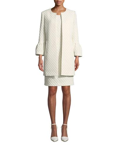Two-Piece Jacquard Dot Coat & Dress Set