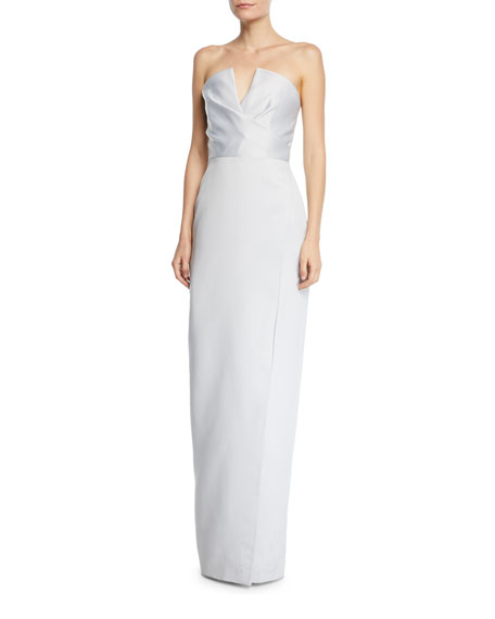Jay Godfrey Strapless V-Neck Gown w/ Slit