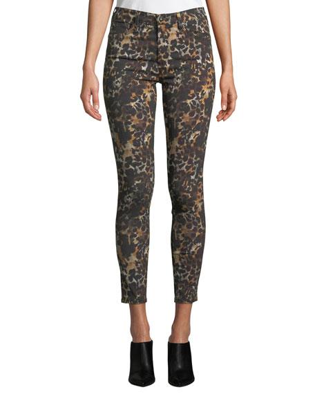 AG The Farrah High-Rise Animal-Print Camo Skinny Jeans