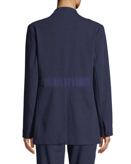 Joan Vass Plus Size Snap-Front Long-Sleeve Boyfriend Blazer with Pockets